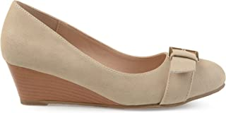 Brinley Co. Womens Gael Faux Suede Buckle Detail Comfort-Sole Wedges