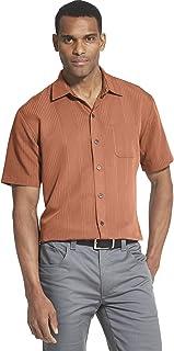 قميص للرجال من فان هيوزن، كبير وطويل مع اكمام قصيرة وازرار سفلية، من البولي رايون بتصميم مخطط