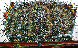 元バティックアートペイントonコットン生地、' Tree of Life ' by m. Yono ( 150cm X 90cm )