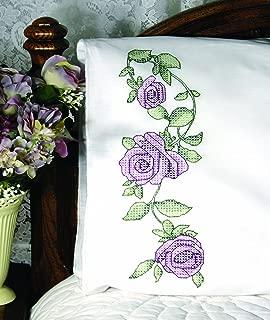 Fairway Needlecraft 83245 Cross Stitch Perle Edge Pillowcases, Rose Vine Design, Standard, White