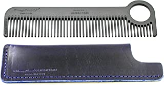 Chicago Comb Model 1 Carbon Fiber Comb + Midnight Blue Horween leather sheath, Made in USA, ultimate pocket and travel comb, ultra smooth strong & light, anti-static, premium American leather sheath