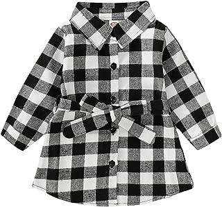 GRNSHTS Kids Baby Girls Christmas Shirt Dress Xmas Plaid Long Sleeve Belt Clothes Outfit
