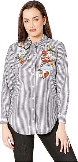 Laurel - Stripe shirt with Embroidery