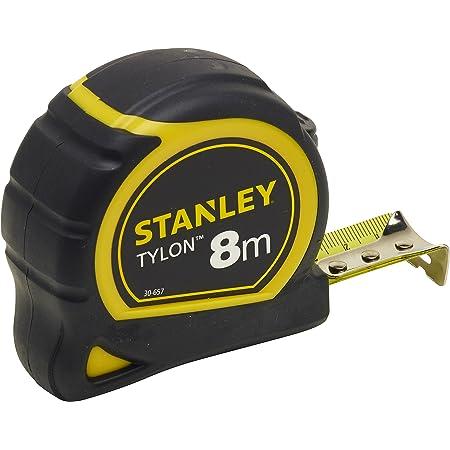 Stanley 0-30-657 Mètre 8 M X 25 Mm Bi Matière Tylon - Boitier Ergonomique - Ruban En Acier Laqué - Crochet Deux Rivets - Position Du Zéro Réel - Blocage Du Ruban - Retour Automatique