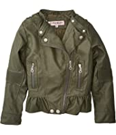 Alice Faux Leather Moto Jacket w/ Ribbed Elbow and Peplum (Little Kids/Big Kids)