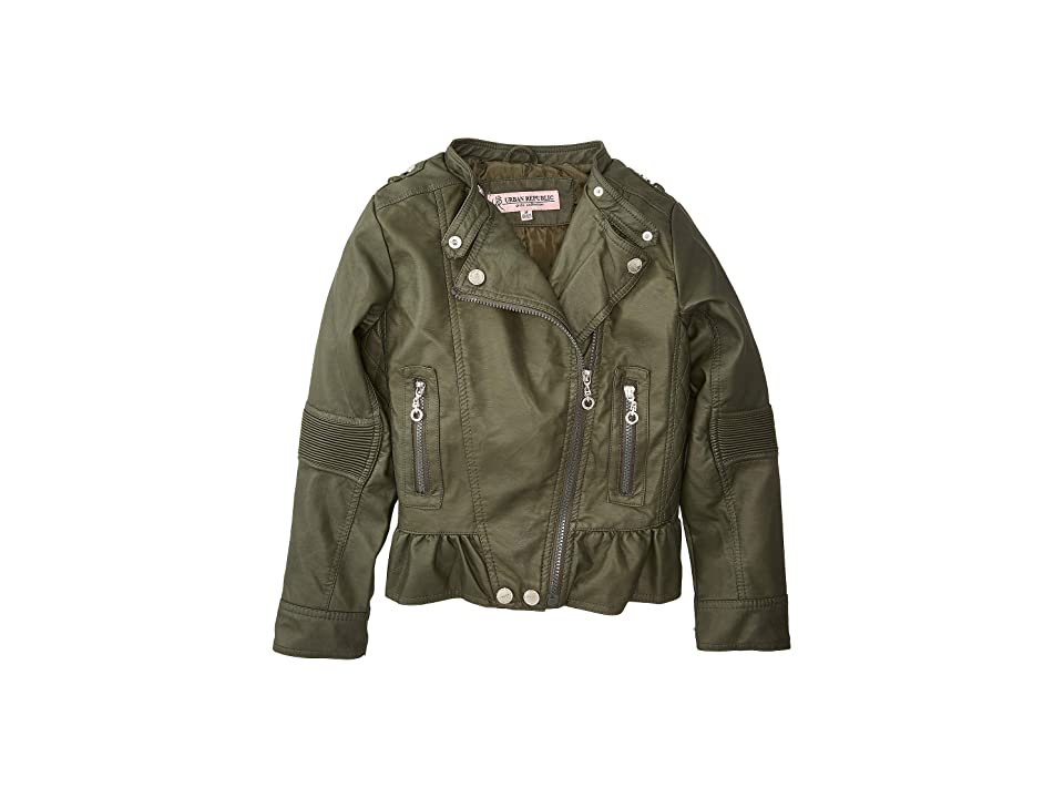 Urban Republic Kids Alice Faux Leather Moto Jacket w/ Ribbed Elbow and Peplum (Little Kids/Big Kids) (Basil Green) Girl
