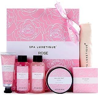 Set de Regalo para Mujer-Spa Luxetique Set de Spa a Rosa Caja de Regalo para Ella Con Crema de Manos Loción Corporal B...