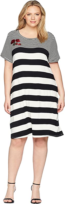 Plus Size Stripe Dress w/ Embroidery