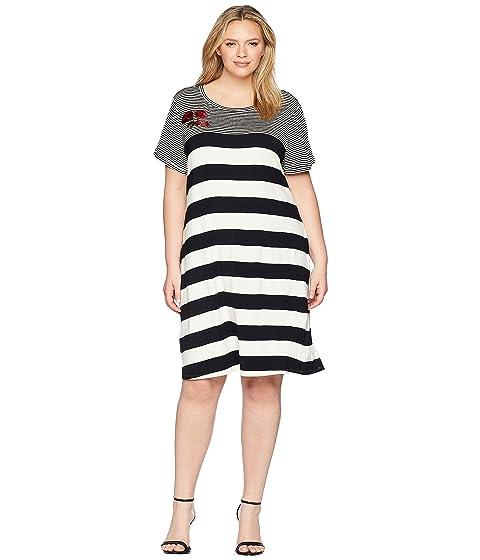 cbec568d21a Calvin Klein Plus Plus Size Stripe Dress W  Embroidery