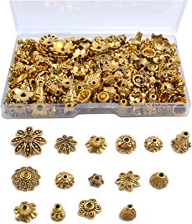 Jdesun 120g Bead Caps with A Clear Storage Box, Tibetan Gold Beads Spacers Jewelry Findings Accessories for Jewelry Making 300-350 Pieces
