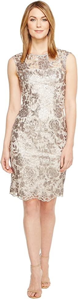 Floral Sequin Embroidered Sheath Dress