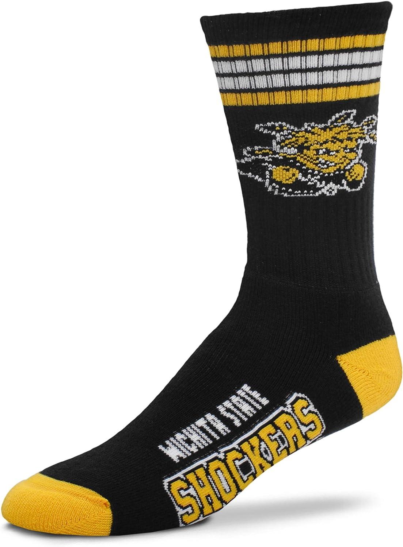 For Bare Feet NCAA 4 Stripe Deuce Crew Men Socks-Wichita State Shockers-Large