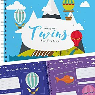 The Adventure Edition - Twins First 5 Years Memory Book with Stickers - Baby 1st Year Milestone Photo Album for Mom & Dad - Newborn Hard Cover Journal - Babies Personalized Keepsake Scrapbook Diary