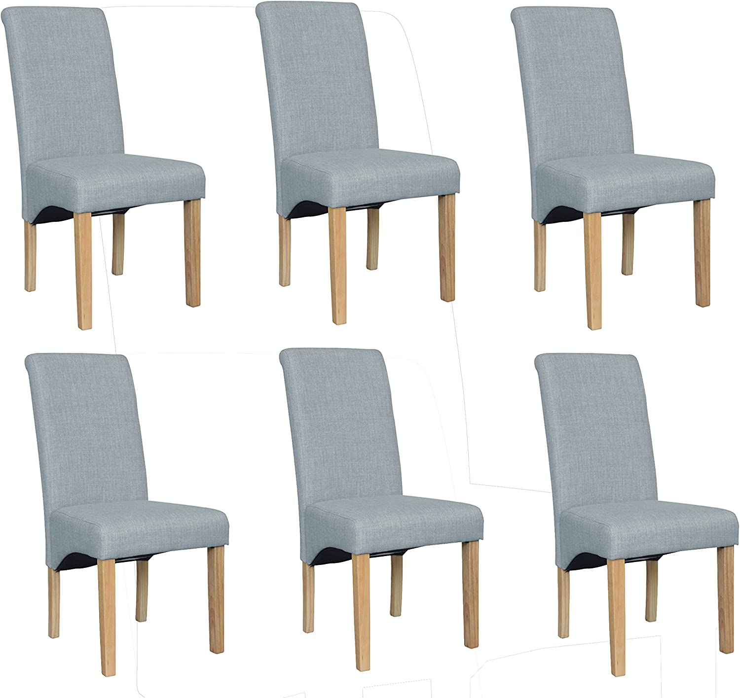 Enjoy Set Of 6 Premium Fabric Linen Dining Chairs Roll Top Scroll High Back With Solid Wood Oak Effect Legs Contemporary Modern Look Light Grey Amazon Co Uk Kitchen Home