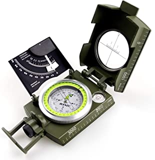 AOFAR AF-M2-B Military Compass Lensatic Sighting-Multifunctional, Fluorescent, Waterproof and Shakeproof with Inclinometer...