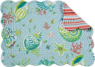 Set of 4 Pcs, 13x19 Quilted Scallop Edge Placemat, Laguna Breeze