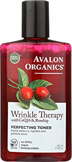 Avalon Organics Wrinkle Therapy with CoQ10 & Rosehip Perfecting Toner 8 oz (Pack of 2)