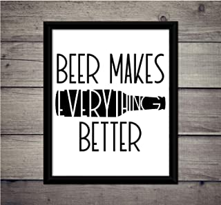 Les Connie Beer Makes Everything Better Wall Decor Printable Bar Decor Beer Funny Sign Hops Print Drinks Bottle IPA