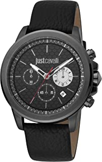 Just Cavalli Young Gents Black Dial Leather Analog Watch - JC1G140L0035