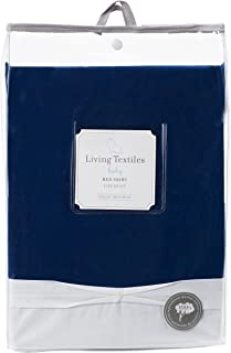 Living Textiles 100% Cotton Crib Bed Skirt (Navy). Navy Blue Machine-Washable Bed Skirt for Baby Crib