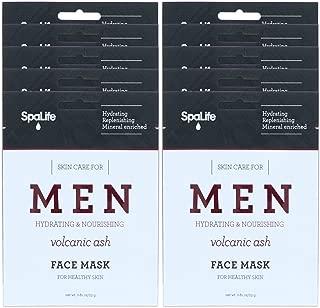 SpaLife Hydrating, Purifying, Anti-Aging, Detoxifying and Soothing Korean Beauty Facial Masks (10 Masks (Men's Volcanic Ash))