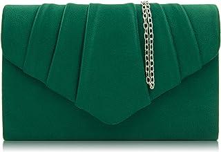 Milisente Clutch Damen, Elegante Wildleder Clutch Umschlag Crossbody Klassisch Clutch Tasche Abendtasche (grün)
