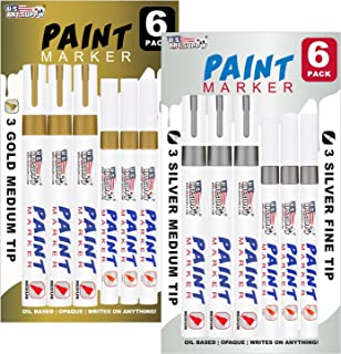 U.S. Art Supply Set of 12 Gold & Silver Oil Based Paint Pen Markers, 6 Medium and 6 Fine Point Tips - Permanent Ink That Works on Most Surfaces Glass, Wood, Metal, Rubber, Stone, Arts, Crafts & Tools