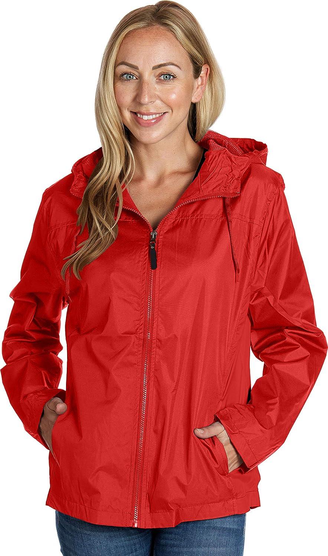 eb79 Ladies Hooded Wind Resistant/Water Repellent Windbreaker Ja