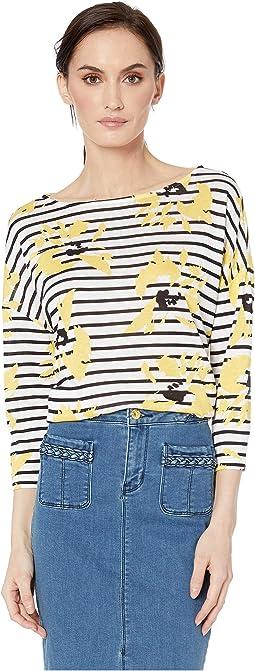 Printed Slub Knit 3/4 Sleeve Drop Shoulder Top