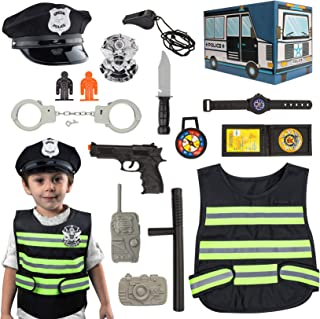 Police Costume for Kids Police Role Play Kit with Police Badge, Handcuffs, Kids Cop Toy Set, Great for Halloween Costume, ...
