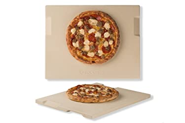 """ROCKSHEAT Pizza Stone 12"""" x 15"""" Rectangular Baking & Grilling Stone, Perfect for Oven, BBQ and Grill. Innovative Double - Faced Built - in 4 Handles Design"""
