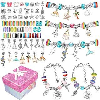 Charm Bracelet Making Kit, Iriseris 85Pcs Charm Bracelets for Girls, Jewelry Making Kit with Bracelet Beads, Charm Bracele...