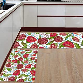 WSHINE 2 Piece Non-Slip Kitchen Rug Floor Mat Kitchen Carpet Bathroom Area Rugs Doormat Runner Rug Set, Natural Botanic Garden Plants with Pomegranates Flower Romantic Image