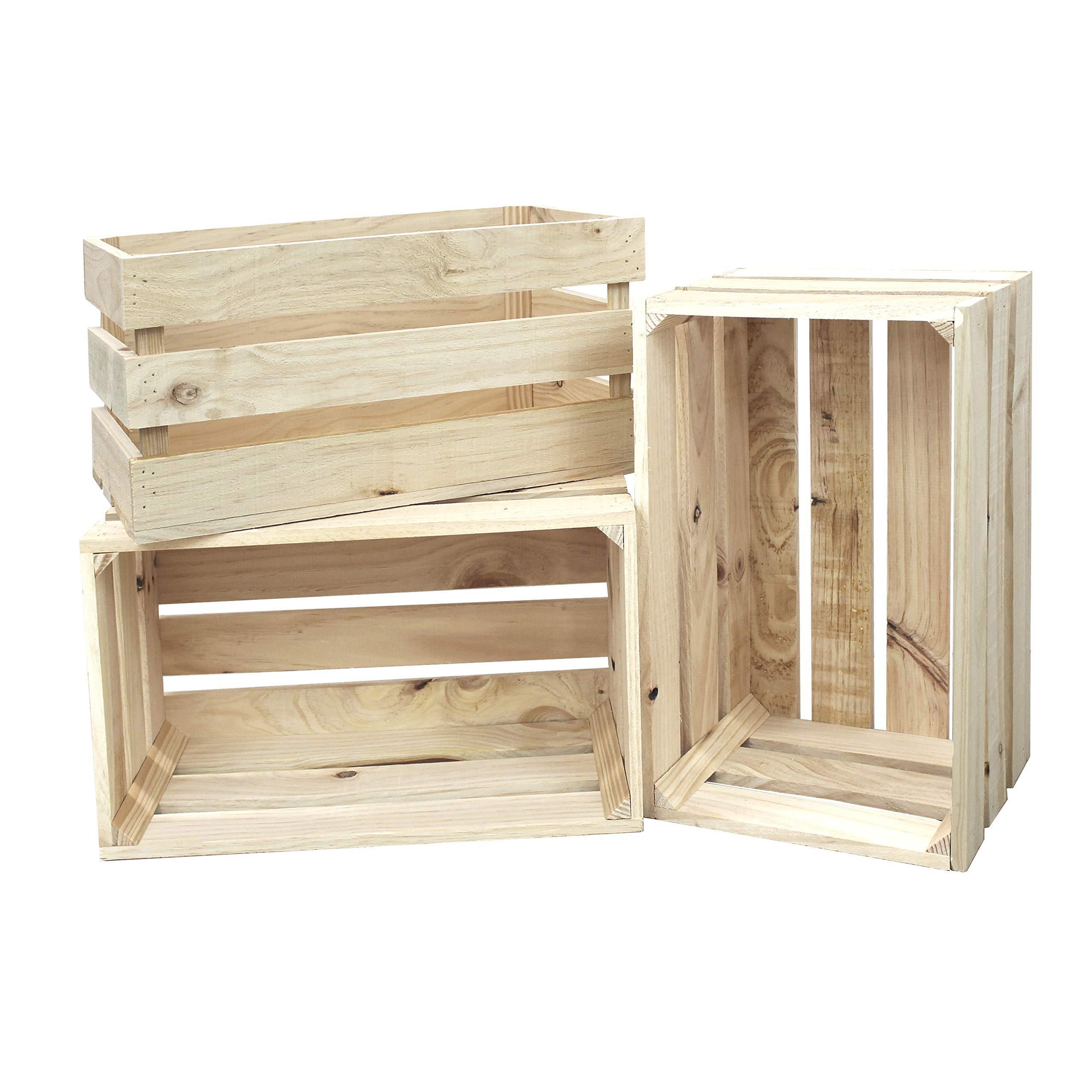 Decowood - Pack de 3 Cajas Fabricadas en Madera de Pino Gallego - Tamaño Grande - Color Beige - Acabado Natural - Tamaño 49 x 25,5 x 30,5 cm: Amazon.es: Hogar