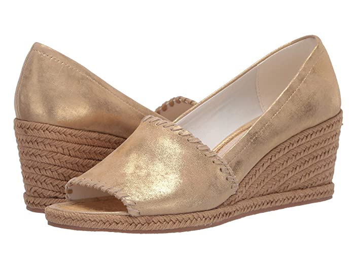 60s Shoes, Boots Jack Rogers Palmer Wedge Gold Womens Shoes $134.00 AT vintagedancer.com