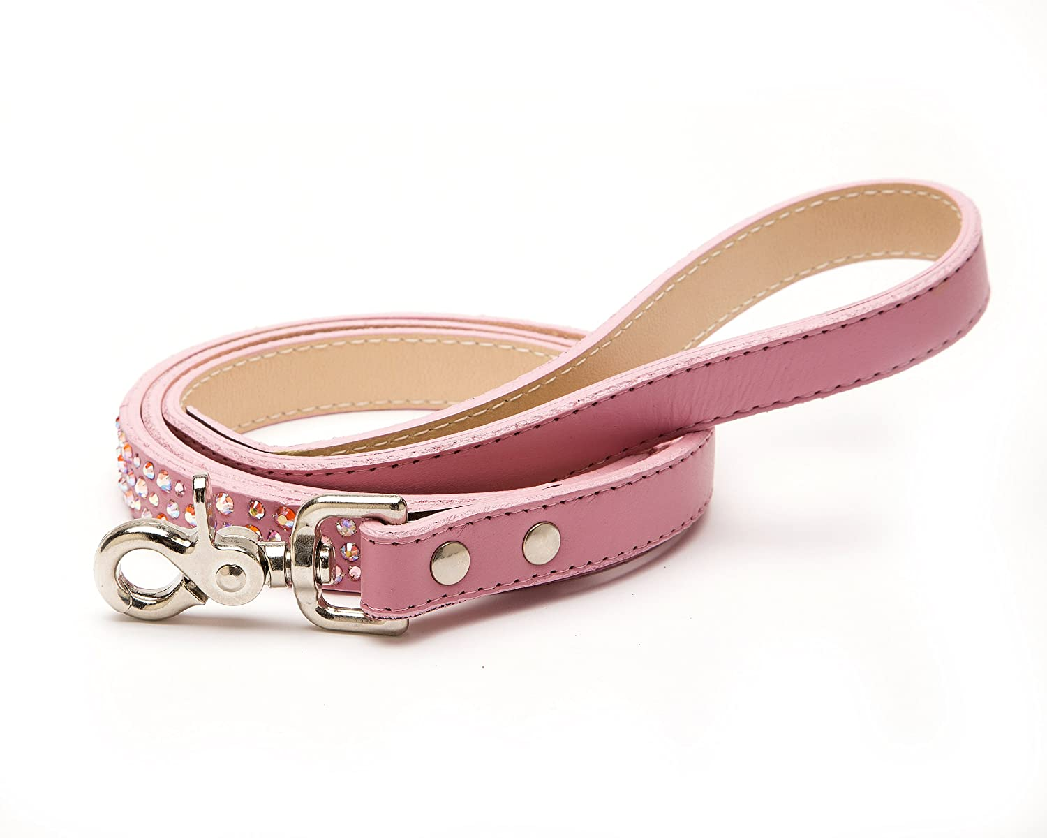 POOCHEE DESIGNS Domed Studs Leather Dog Leash, L4', W3 4 , Pink with Domed Studs