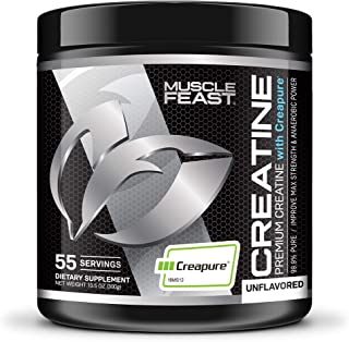 Creapure Creatine Monohydrate Powder - by Muscle Feast | Premium Pre-Workout or Post-Workout | Easy to Mix and Gluten-Free (300g, Unflavored)