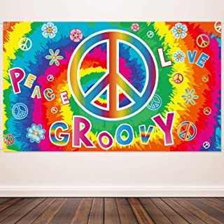 60`s Carnival Groovy Decoration Banner Hippie Theme Party Photography Background 60`s Party Scene Setters Groovy Wall Decoration Kit Peace and Love for Large Party Supplies 72.8 x 43.3 Inch