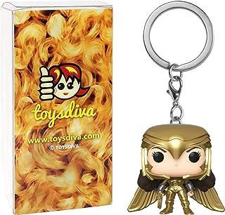 Wonder Woman Golden Armor: Funko Pocket Pop! Mini-Figural Keychain Bundle with 1 Compatible 'ToysDiva' Graphic Protecto...