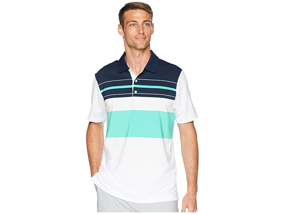 adidas Golf Ultimate Engineered Blocked Polo (White/Aero Green) Men