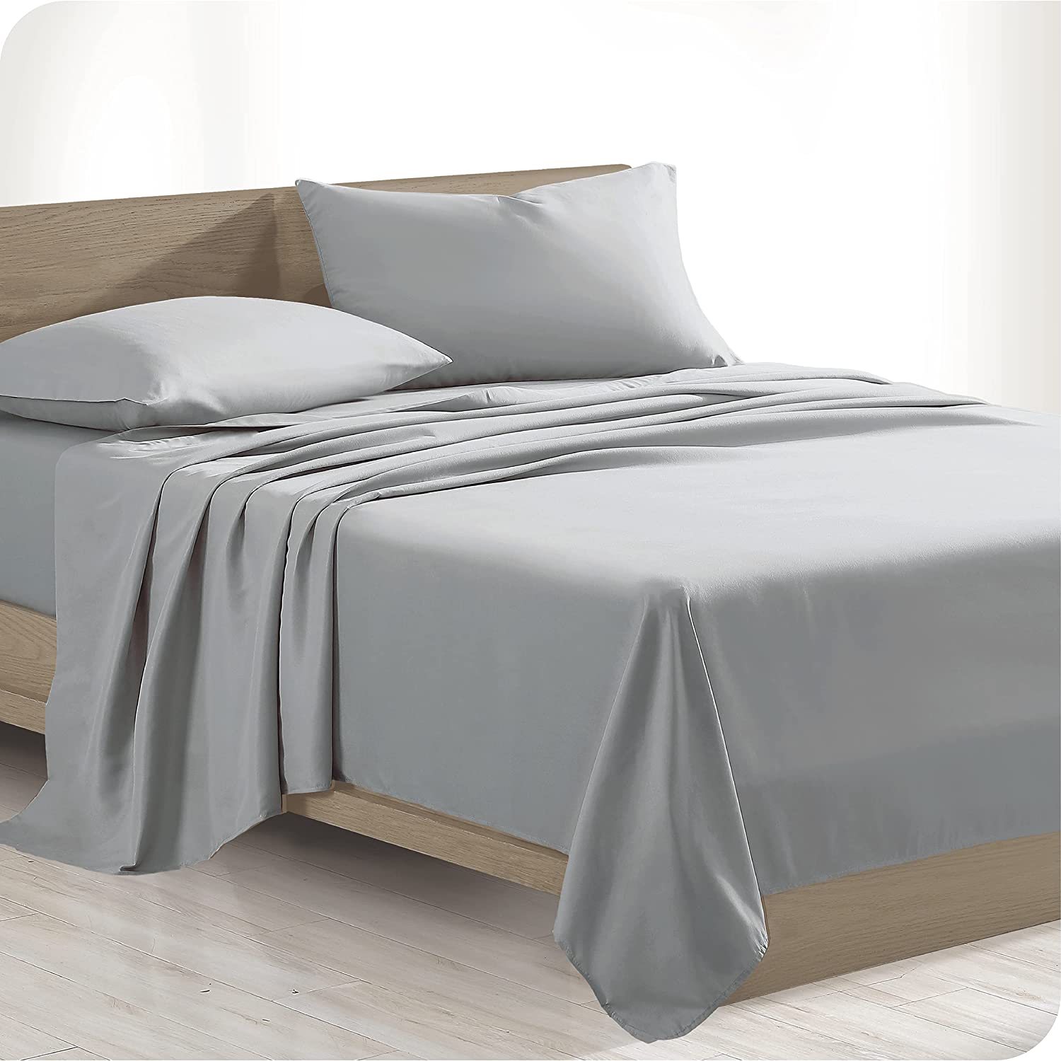 Bare Home 100% Organic Cotton Twin Sheet Set - Crisp Percale Weave - Lightweight & Breathable - Bedding Sheets & Pillowcases (Twin, Light Grey)