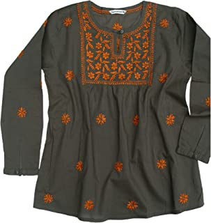 Ayurvastram Pure Cotton Hand Embroidered Boho Peasant Blouse Top Tunic