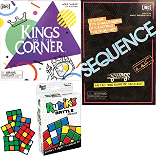 Play Family Strategy Travel Action: Kings in The Corner + Rubik's Battle Game + Sequence Fun time Cards Winners Night Fun 3 Pack