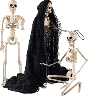 Jetec 3 Pieces Halloween Skeleton Full Body Plastic Skeleton Model Scary Man Bone 19.7 Inch with Creepy Cloth for Halloween Decorations Haunted Houses Graveyard Scene Creepy Decor Party Props