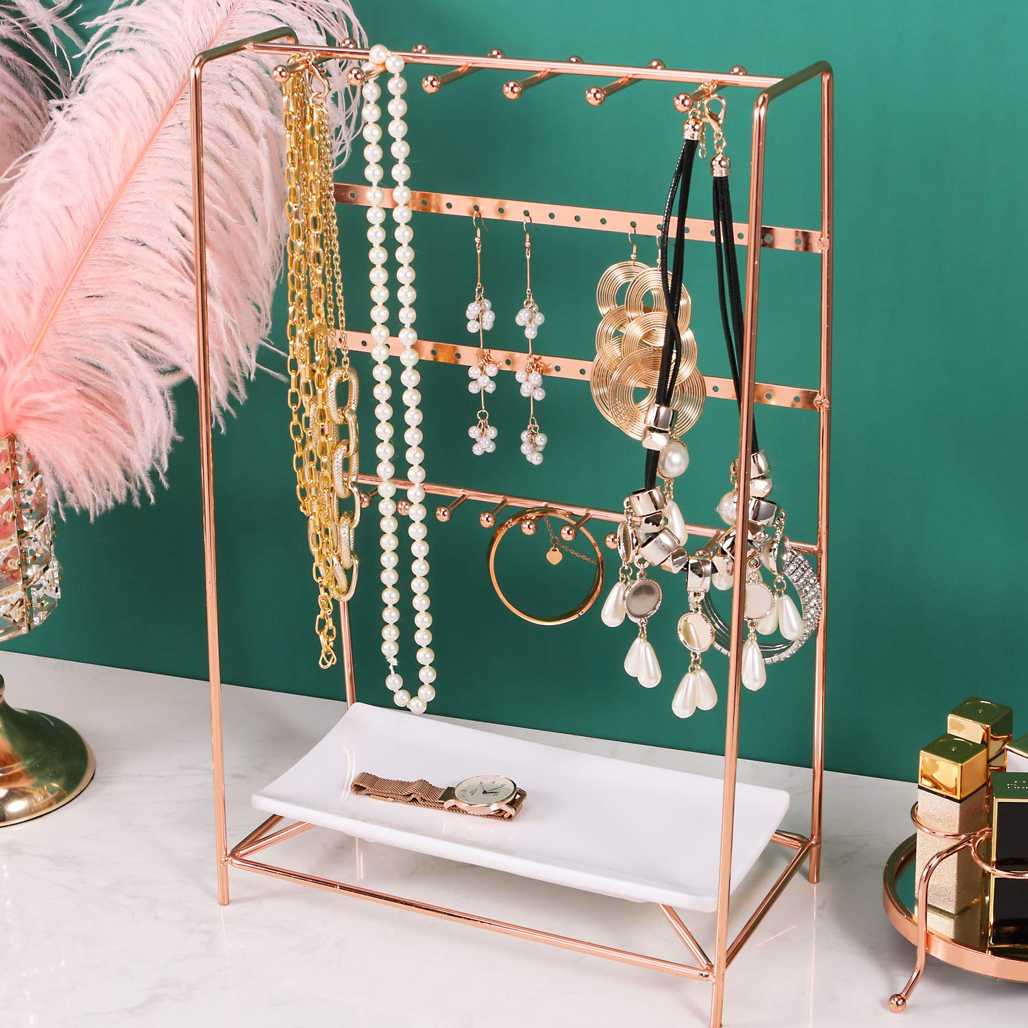 Amazon Com Simmer Stone Rose Gold Jewelry Stand 4 Tier Jewelry Organizer Holder Decorative Jewelry Storage Hanger Display With Tray For Rings Bracelets Necklaces Earrings Home Kitchen