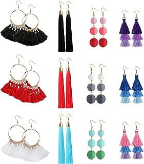 Jstyle 2-12Pairs Bohemian Tassel Dangle Earrings Drop Layered Tiered Thread Tassel Statement Hoop Earrings Set for Women Girls Gifts