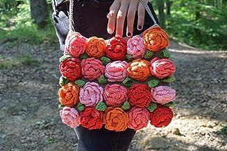 Crochet Tote Bag with Roses Boho Handbag Eco Friendly Cotton Purse Festival Flower Floral Summer Party Gypsy Girlfriend Gift Crossbody