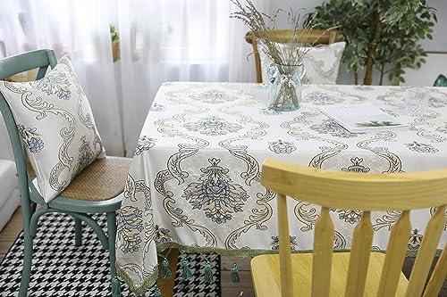 Europ ch 100% Polyester Rechteckig Tischdecke Essen Tabelle Stoff zum Zuhause Hotel Cafürestaurant LAD-I , Weiß, 13020cm
