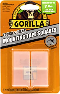 """Gorilla Tough & Clear Double Sided Mounting Tape Squares, 24 1"""" Pre-Cut Squares,.."""
