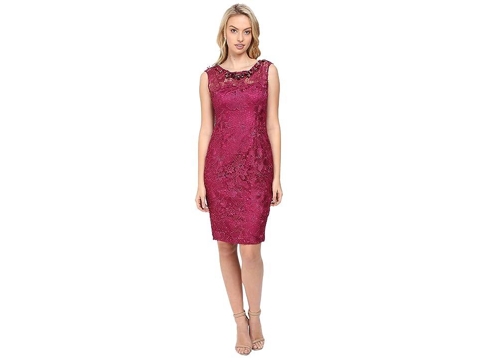 Adrianna Papell Cap Sleeve Sheath Dress with Beads (Ash Rose) Women
